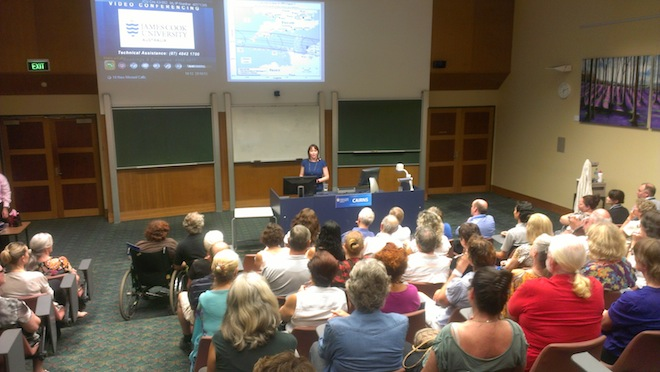 Lecture 2 about the total solar eclipse in the region, at James Cook University Cairns.  © 2012