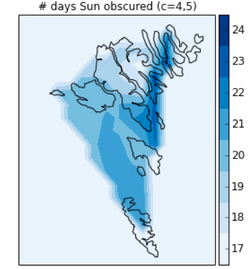 Frequency of cloud at eclipse time (darker regions represent more cloud)
