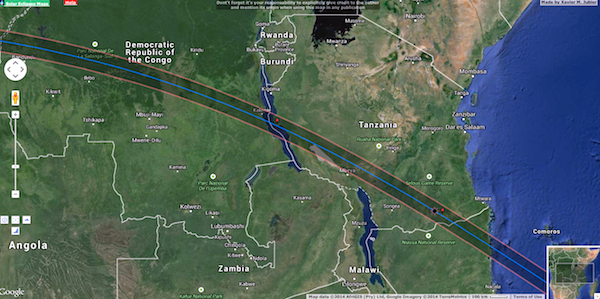 Path of the eclipse across Tanzania. Map courtesy of Xavier Jubier