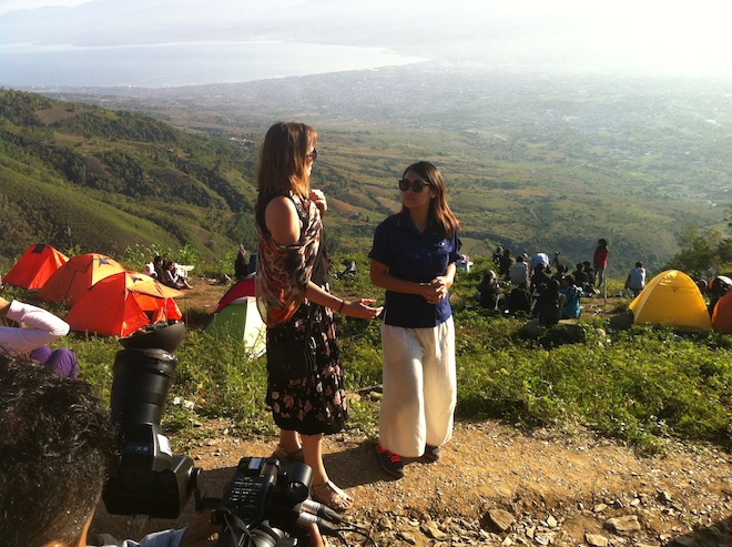 Filming from our vantage point up in Wayu Village, overlooking Palu. (c) 2016, Kate Russo