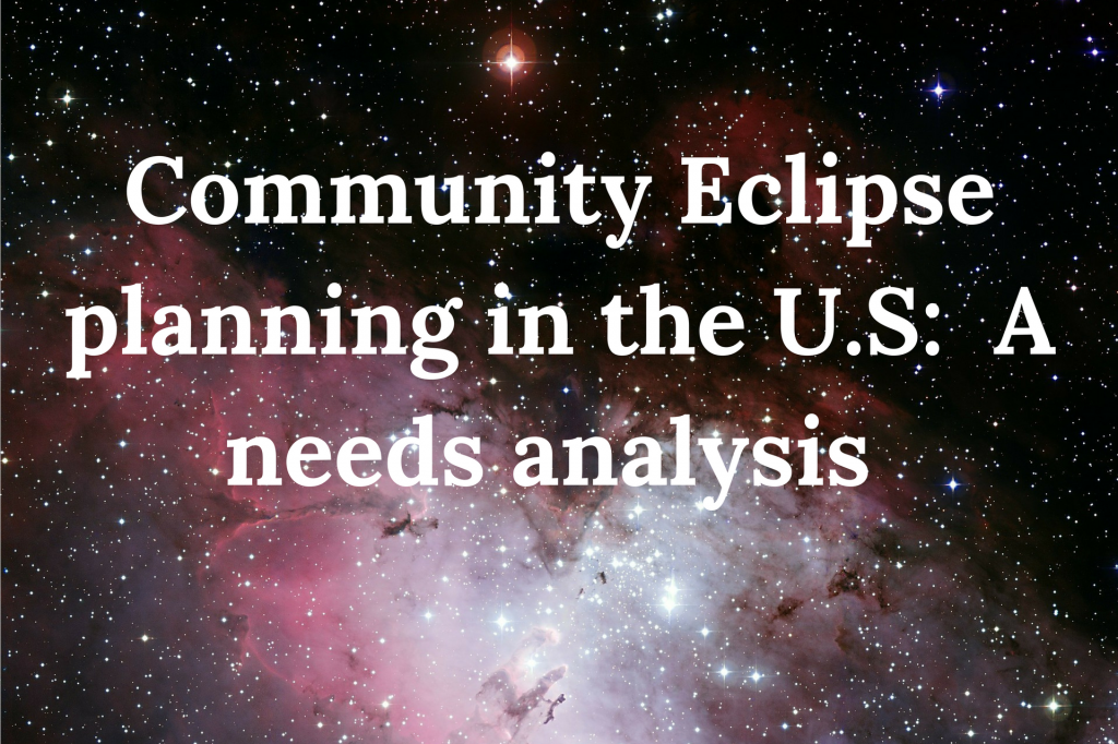eclipse research, community eclipse planning, Dr Kate Russo, needs analysis